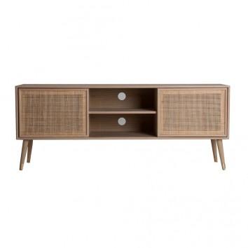Mueble TV estilo nórdico madera y ratan - 150x38x60h
