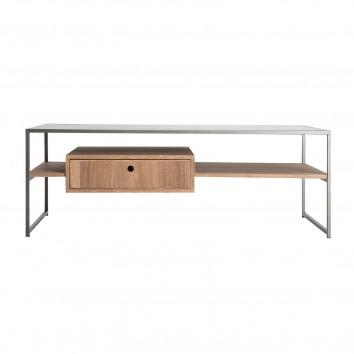 Mesa de centro estilo industrial hierro y madera - 120x60x42h