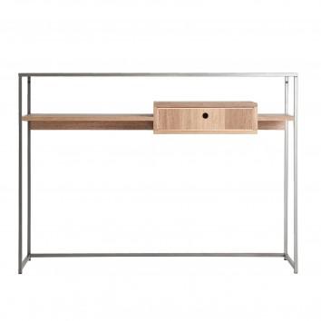 Consola estilo industrial metal y madera natural - 120x30x85h