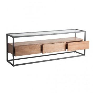 Mueble TV estilo industrial madera abeto y hierro - 150x35x49h