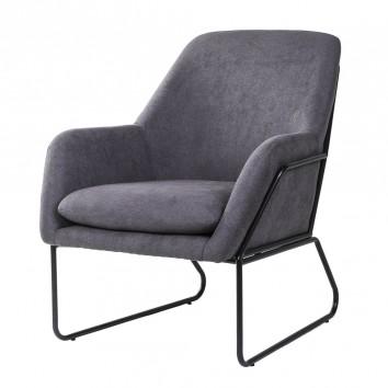 Sillón diseño estructura hierro negro y tapizado gris oscuro - 77x88x97h