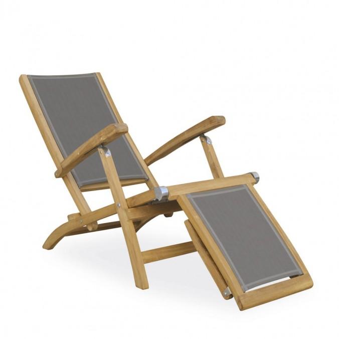 Sillón-tumbona madera teca y tejido screen - 65x140x100h