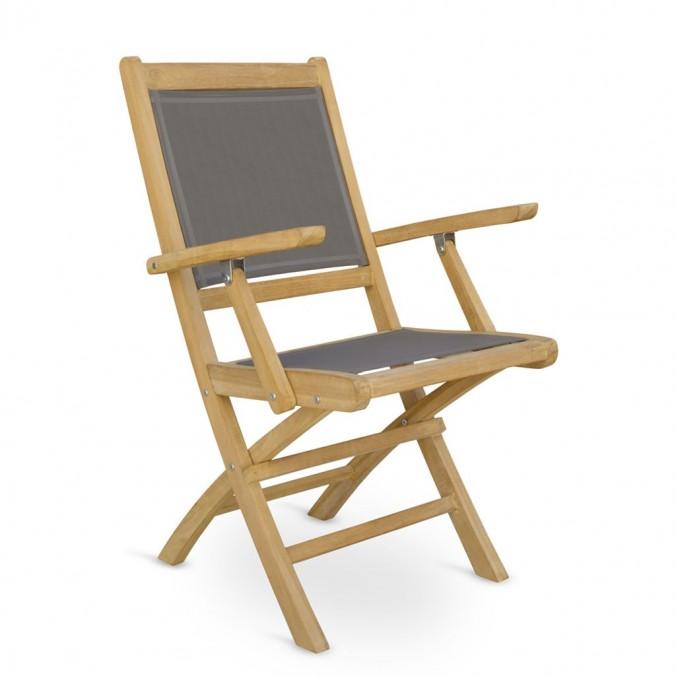 Silla con brazos madera teca y tejido screen - 654x60x90h
