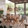 Silla de jardín madera teca y tejido screen - 46x60x90h