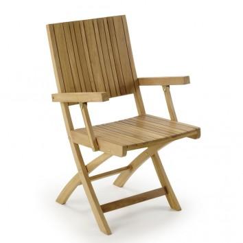 Silla de exterior con brazos madera de teca  - 55x50x90h