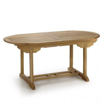 Mesa ovalada de jardín madera de teca extensible - 170-220cm