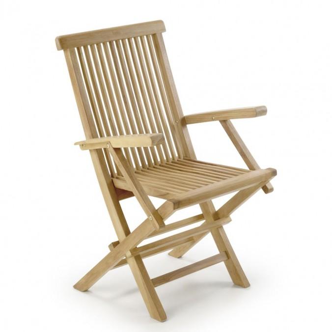Sillón con brazos plegable madera de teca  - 55x60x90h