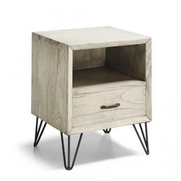 Mesita de noche con cajón de estilo rústico vintage 45x40x55h