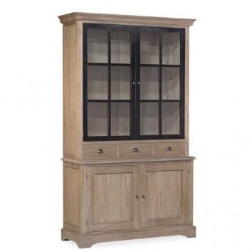 Vitrina de estilo provenzal madera maciza 130x47x215h