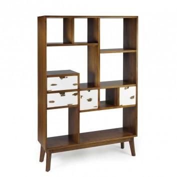 Librería 4 cajones de estilo nórdico vintage 120x35x180h