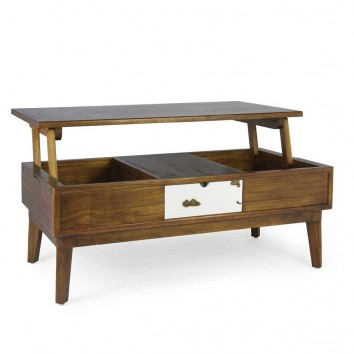 Mesa de centro elevable estilo nórdico vintage 115x60x45-65h