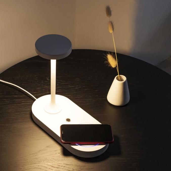 Sobremesa nblanco luz LED y cargador móvil inducción