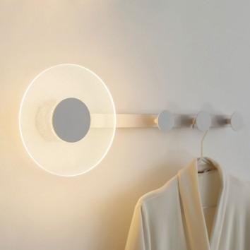 Aplique de pared-percha blanco con luz LED