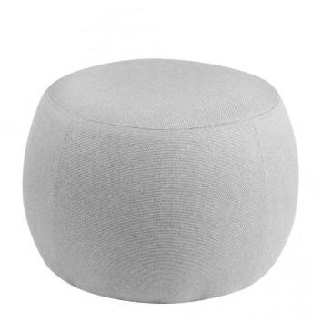 Puff 50cm tapizado gris estructura madera