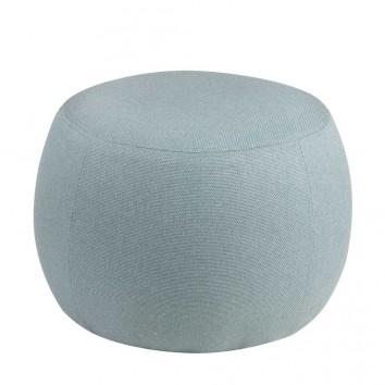 Puff 50cm tapizado azul estructura madera
