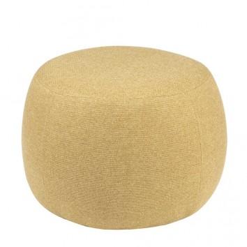 Puff 50cm tapizado mostaza estructura madera
