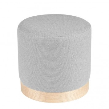 Puff 40cm tapizado gris y madera natural
