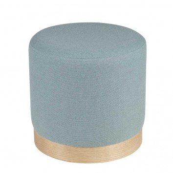 Puff 40cm tapizado azul y madera natural