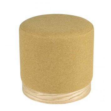 Puff 40cm tapizado mostaza y madera natural