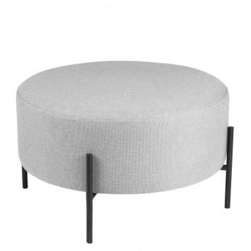 Puff 60cm tapizado gris con patas de metal