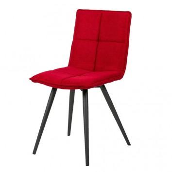 Silla diseño ZOE tapizado rojo y patas color negro
