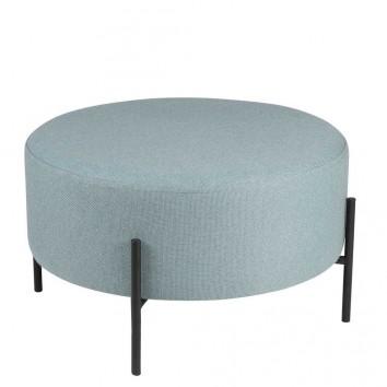 Puff 60cm tapizado azul con patas de metal