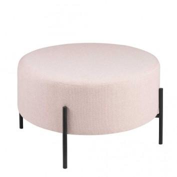 Puff 60cm tapizado rosa con patas de metal