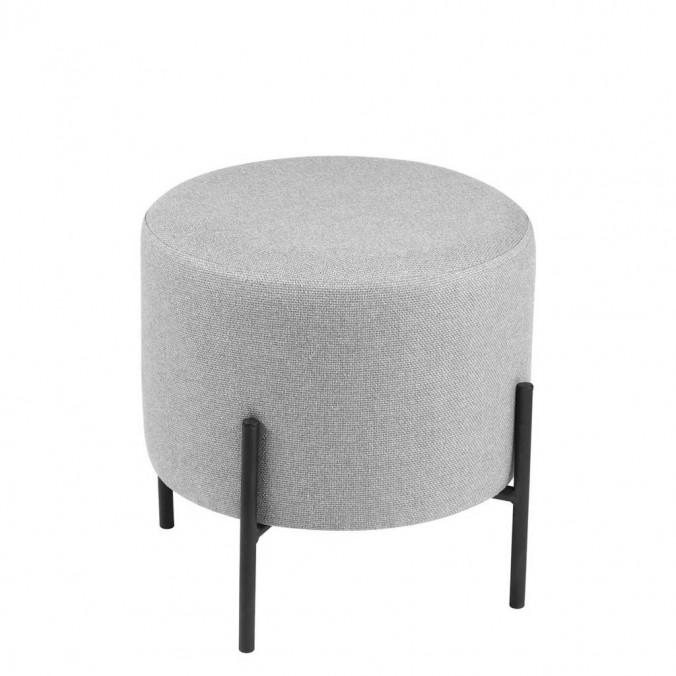 Puff 40cm tapizado gris con patas de metal