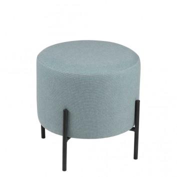 Puff 40cm tapizado azul claro con patas de metal