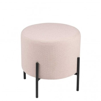Puff 40cm tapizado rosa con patas de metal