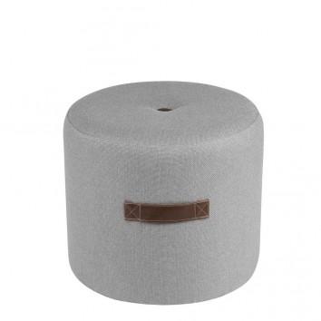 Puff 44cm tapizado gris claro con asas