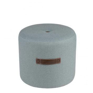 Puff 44cm tapizado azul claro con asa