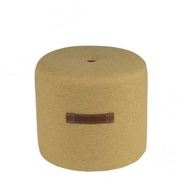 Puff 44cm tapizado amarillo mostaza con asa