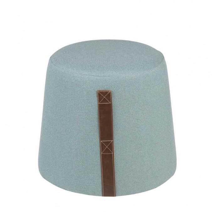 Puff cónico 44cm tapizado azul claro con asa