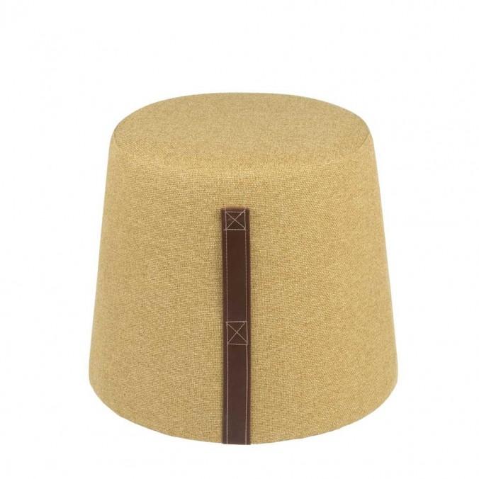 Puff cónico 44cm tapizado amarillo mostaza con asa
