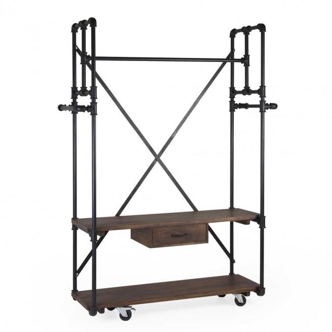 Mueble colgador estilo industrial tubería de hierro 135x55x188h
