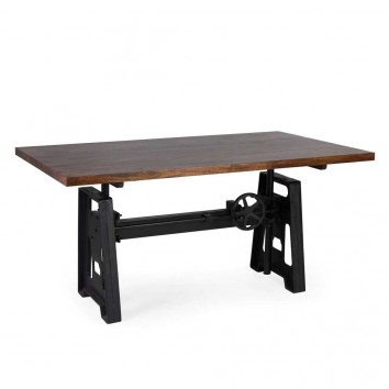 Mesa de comedor estilo industrial altura regulable 160x90x77-105h