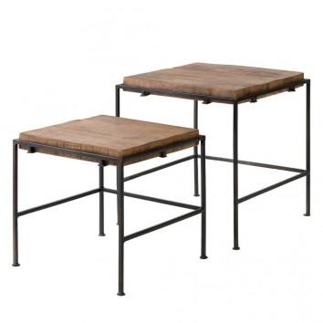 Set 2 mesas auxiliares nido estilo industrial