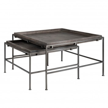 Set 2 mesas centro anidables de estilo industrial