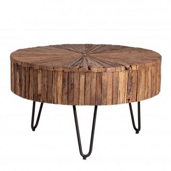 Mesa de centro 70cm estilo étnico madera y hierro