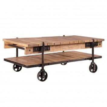 Mesa de centro con ruedas estilo industrial - 122x63x44h