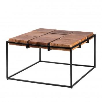 Mesa de centro estilo étnico madera y hierro - 62x62x38h
