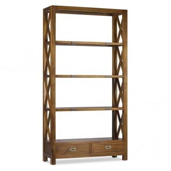 Librería con dos cajones estilo colonial mindi 100x35x190h