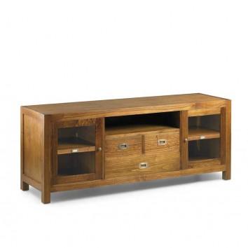 Mueble TV 3 cajones+2 puertas estilo colonial mindi 150x45x60h