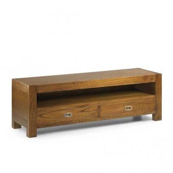Mueble TV 2 cajones estilo colonial mindi 130x40x40h