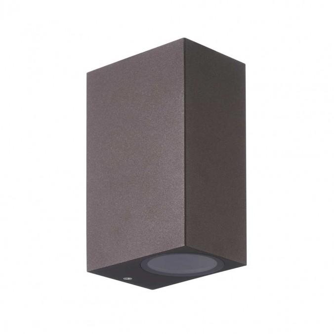 Aplique pared exterior 2 luces recto marrón corten