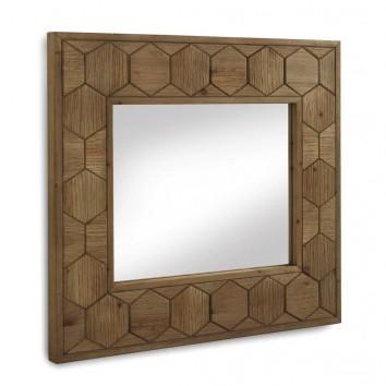 Espejo con marco de abeto trama relieve vintage 88x80cm