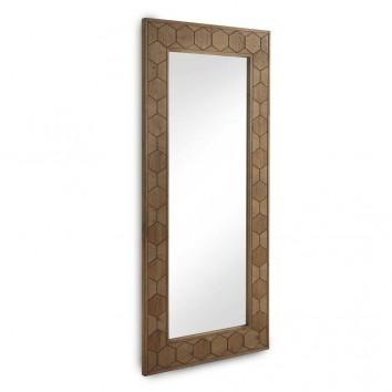 Espejo con marco de abeto tramado relieve vintage 88x203cm