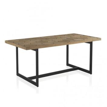 Mesa comedor hierro y abeto en relieve de estilo vintage 178x90x76h