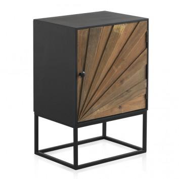 Mesilla con puerta de hierro y abeto reciclado 48x35x71h